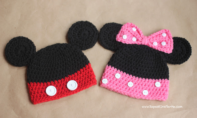 Mickey and Minnie Mouse Crochet Hat Pattern - Repeat Crafter Me