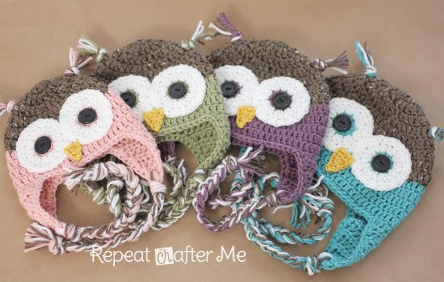 Crochet Owl Hat Pattern In NewbornAdult Sizes Repeat Crafter Me Inspiration Free Owl Hat Knitting Pattern