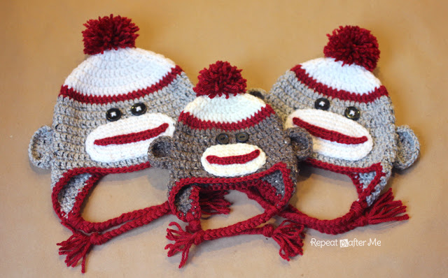 Crochet Sock Monkey Hat Pattern Repeat Crafter Me