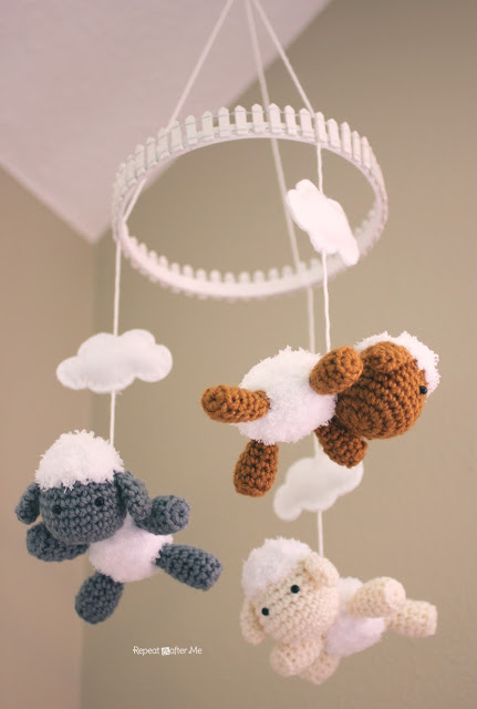 Free Pattern Crochet Lamb : Crochet Lamb Pattern and Baby Mobile - Repeat Crafter Me