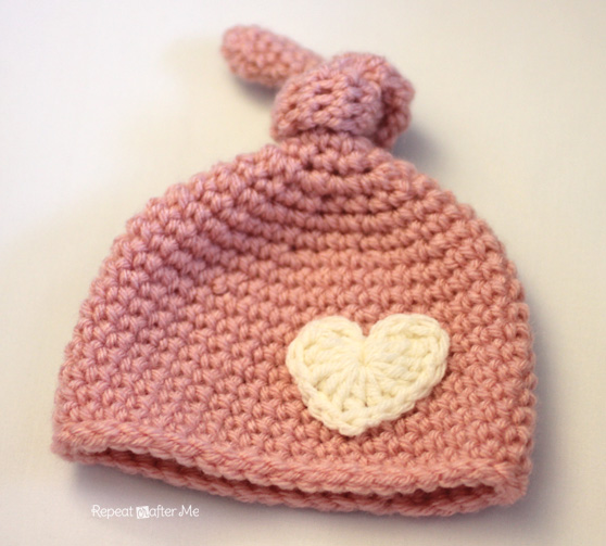 Free Crochet Patterns For Newborn Baby Hats : Crochet Newborn Knot Hat Pattern - Repeat Crafter Me