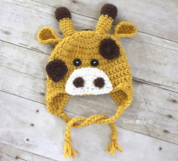 Free Crochet Patterns For Zoo Animals : Crochet Giraffe Hat Pattern - Repeat Crafter Me