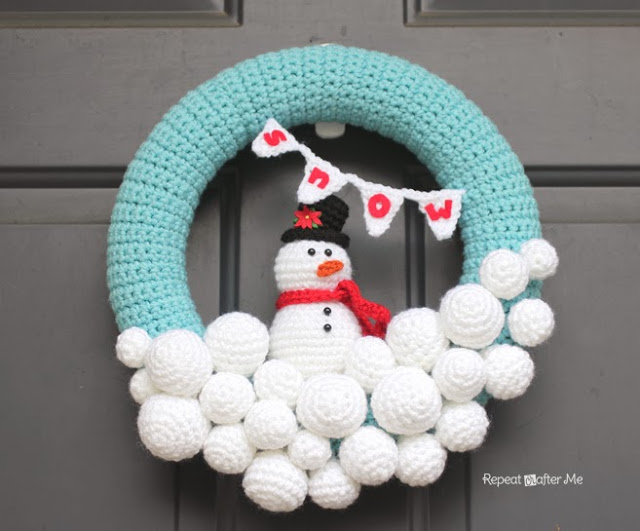 Crocheted Snowball Wreath