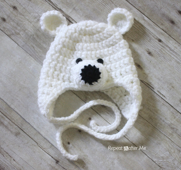 Crochet Baby Teddy Bear Hat Pattern : Crochet Polar Bear Hat Pattern - Repeat Crafter Me
