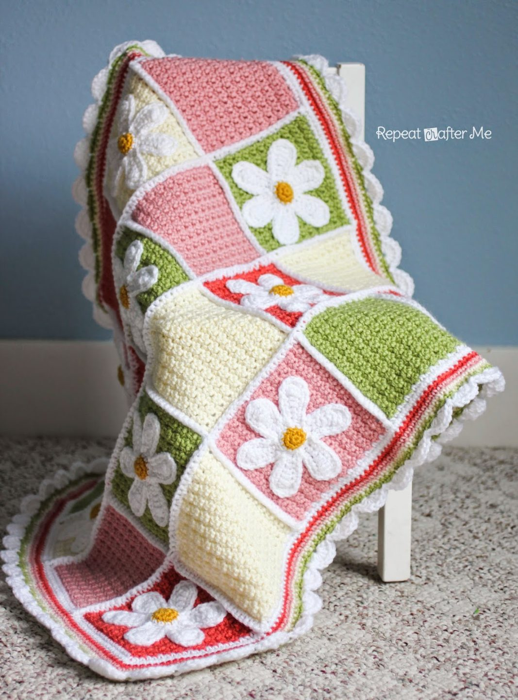 Free Crochet Quilt Afghan Patterns : Crochet Daisy Afghan - Repeat Crafter Me