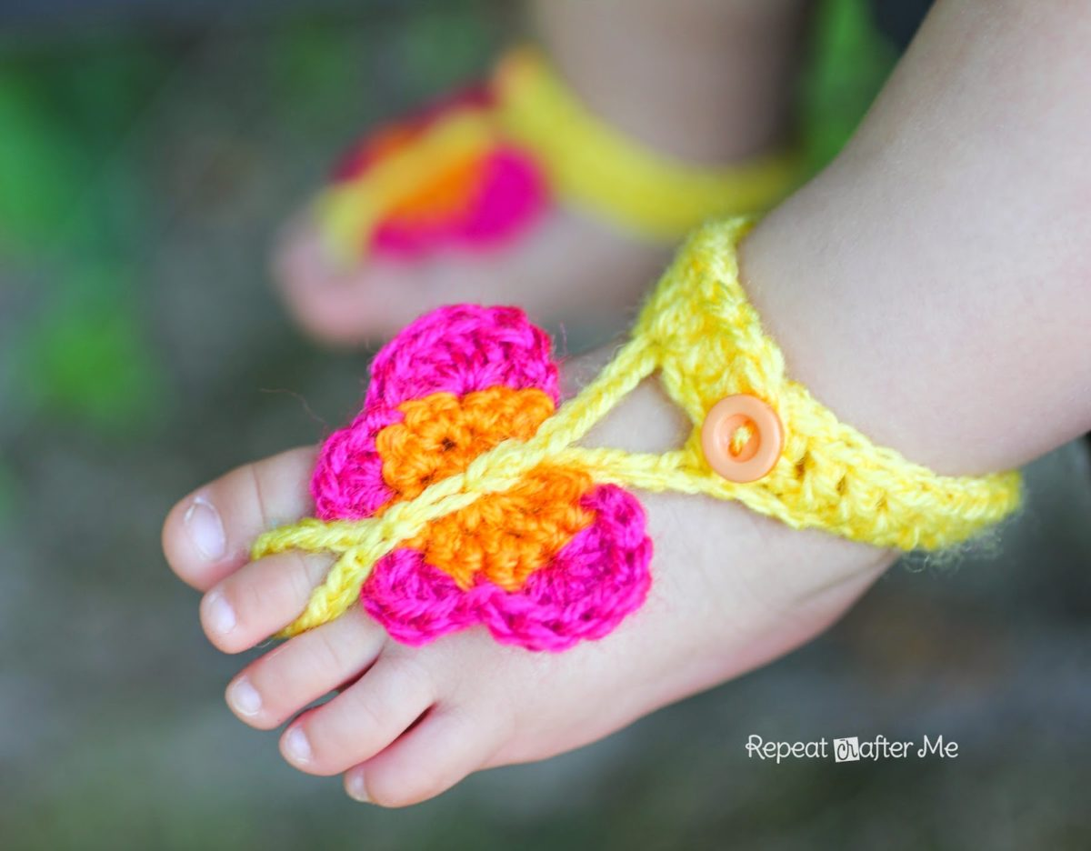Crochet Butterfly Barefoot Sandals Repeat Crafter Me