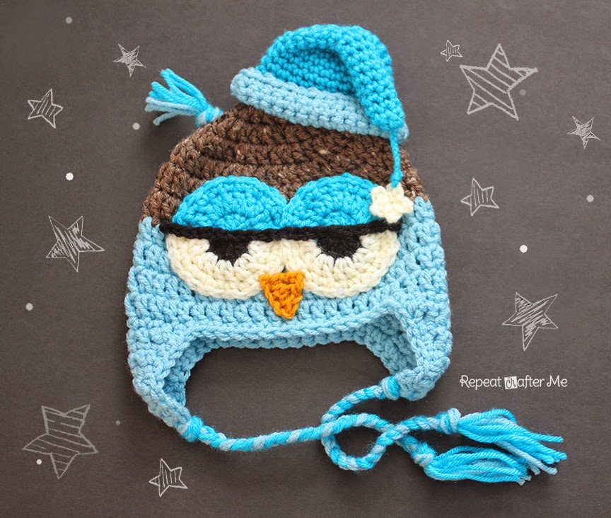Crochet Chunky Owl Hat Pattern : Crochet Drowsy Owl Hat Pattern - Repeat Crafter Me