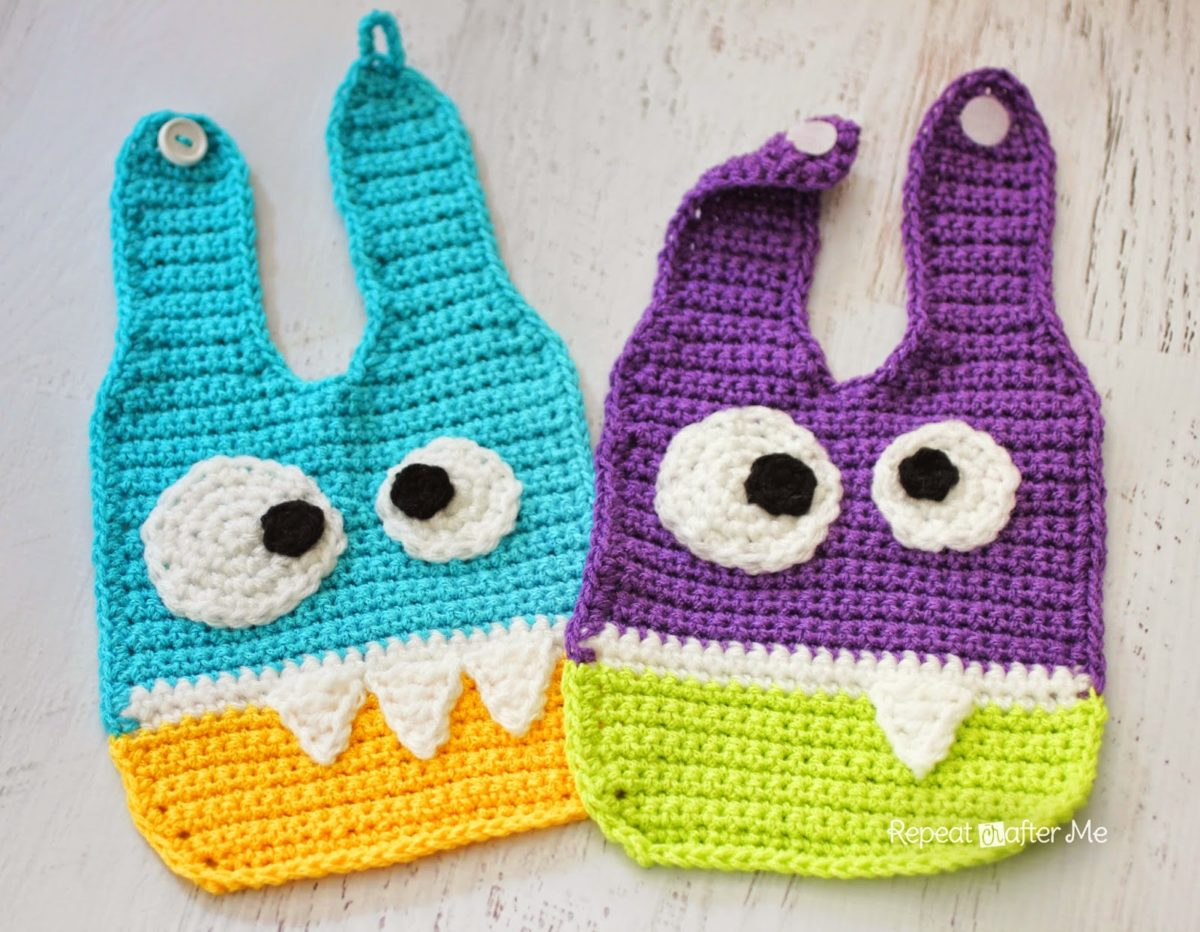 Crochet Baby Overall Patterns : Crochet Monster Baby Bibs - Repeat Crafter Me