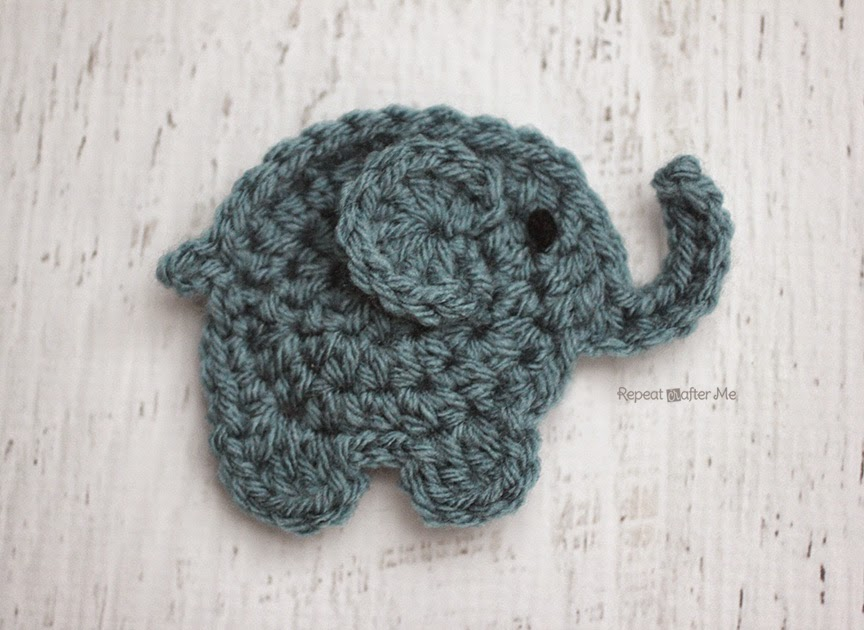 Crochet Patterns Elephant : is for Elephant: Crochet Elephant Applique - Repeat Crafter Me