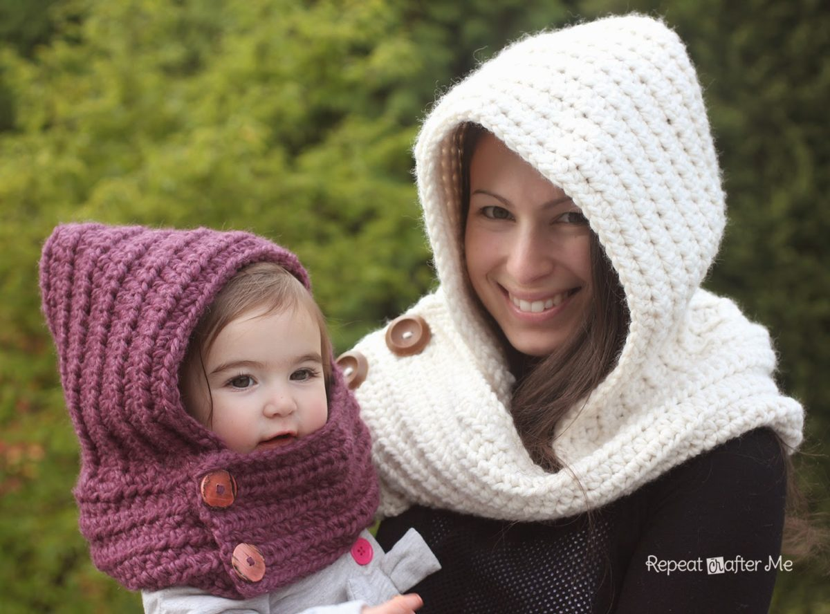 Quick Crochet Cowl Free Pattern : Hooded Crochet Cowl with Lion Brand Thick & Quick Yarn # ...