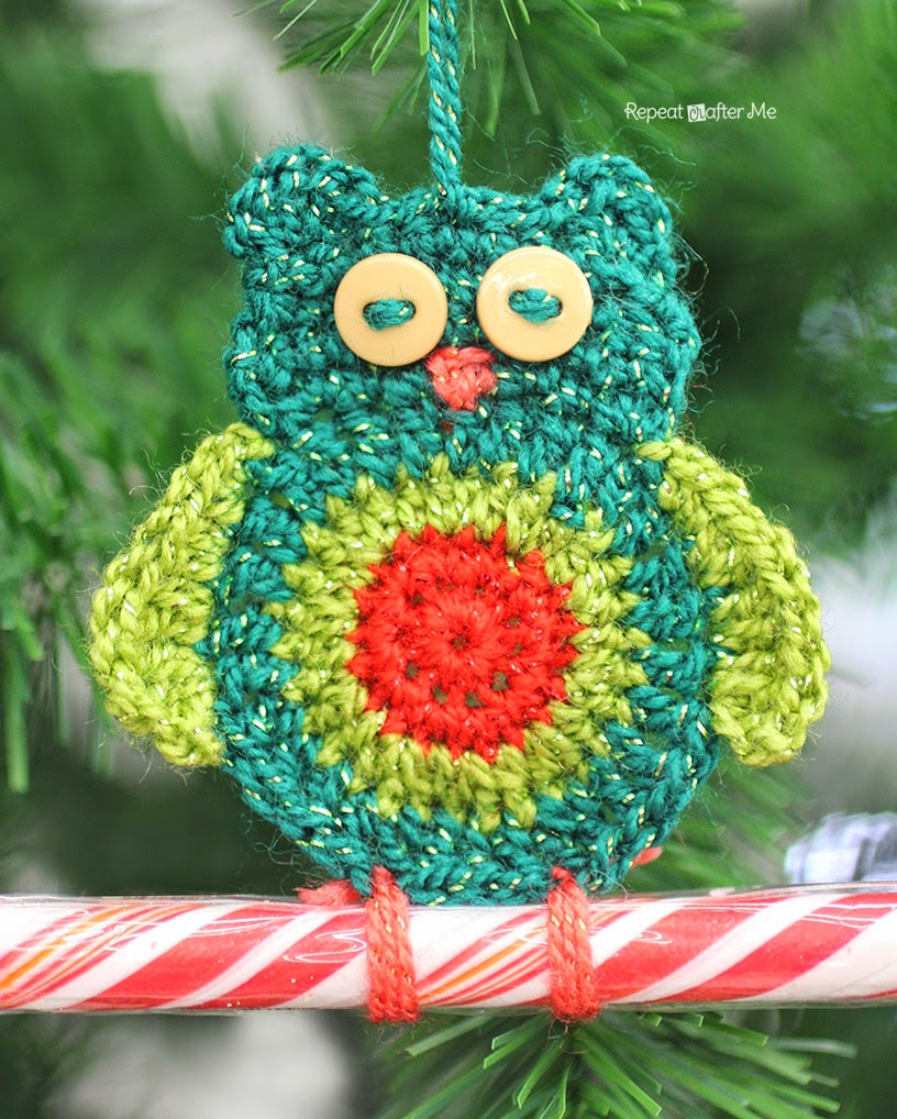 Crochet Owl Candy Cane Ornaments Repeat Crafter Me