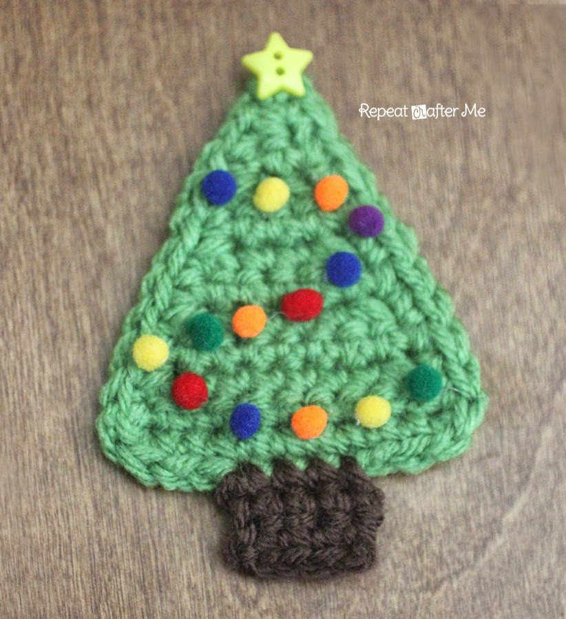 Crochet Me Free Patterns : Crochet Christmas Tree Applique - Repeat Crafter Me