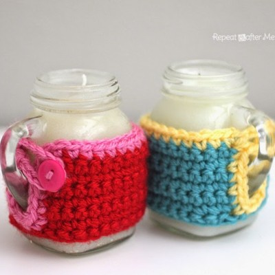 Mason Jar Mug Crisco Candles with Crochet Cozy