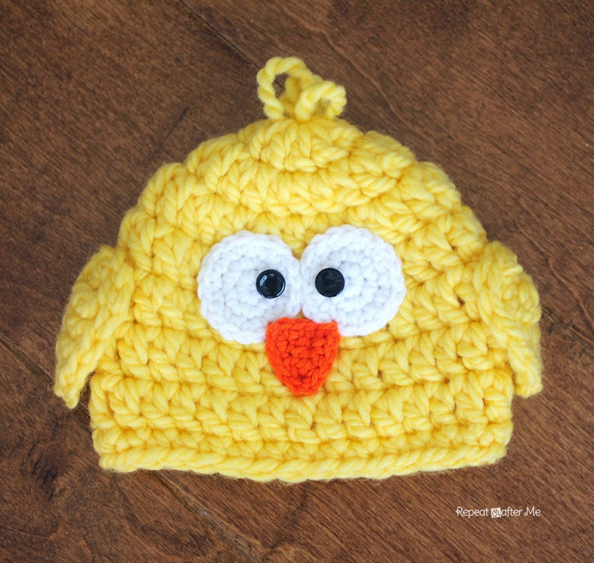 Crochet Baby Easter Hat Patterns : Crochet Chunky Baby Chick Hat - Repeat Crafter Me
