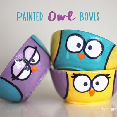 Painted Wooden Owl Bowls