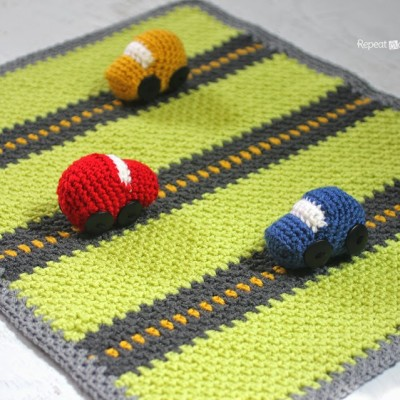 "Crochet Race Car ""Playnket"" (Play Mat and Blanket)"