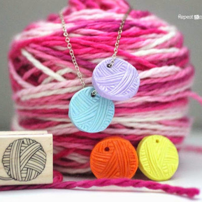 Stamped Clay Yarn Ball Charm
