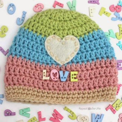 Love Button Crochet Hat