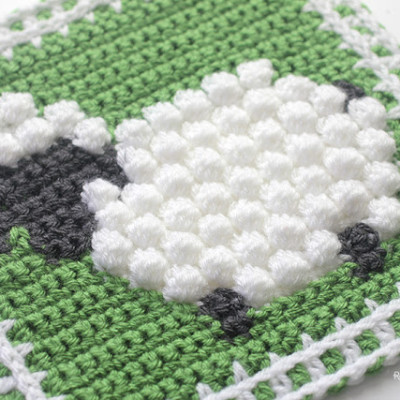 Crochet Bobble Stitch Sheep Square
