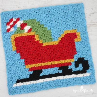Crochet Sleigh Pixel Square