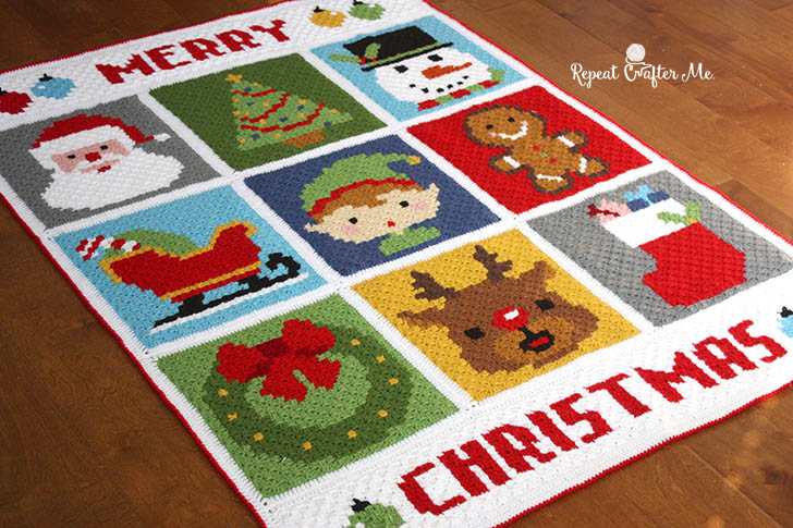 37bddf898 Crochet Christmas Character Afghan - Repeat Crafter Me