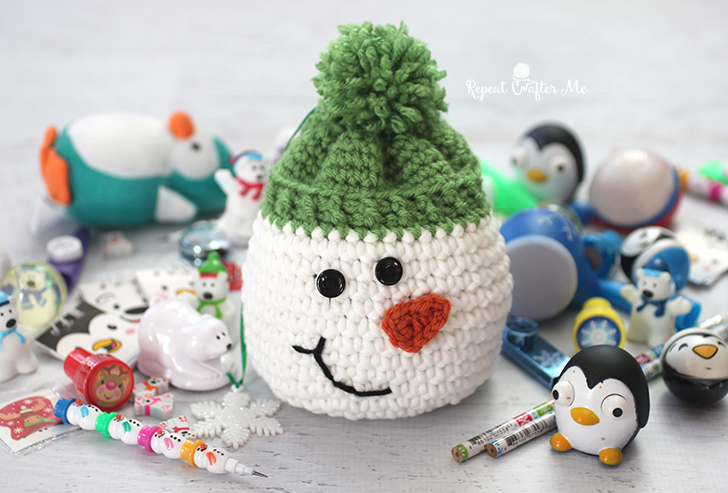 Crochet Snowman Sack with Stocking Stuffers from Oriental Trading - Repeat  Crafter Me 6a74de2a86c1