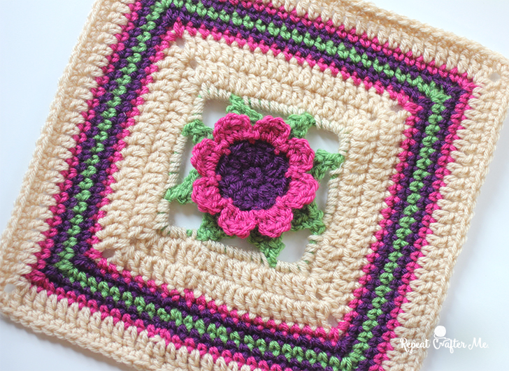 3d Crochet Flower Granny Square Repeat Crafter Me