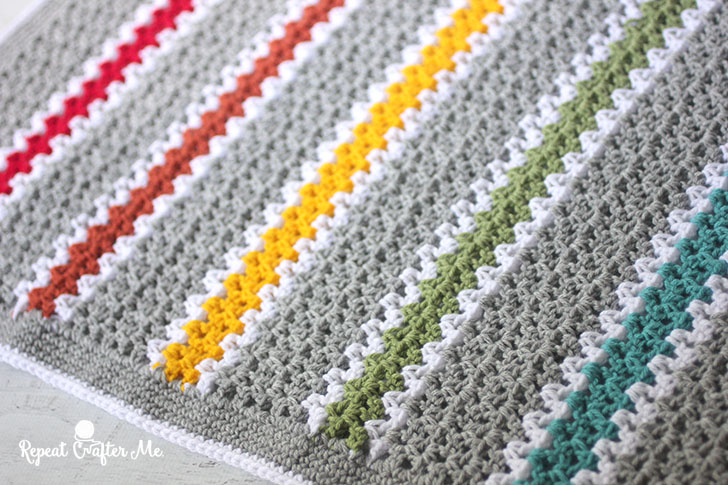 Crochet V Stitch Rainbow Blanket Repeat Crafter Me
