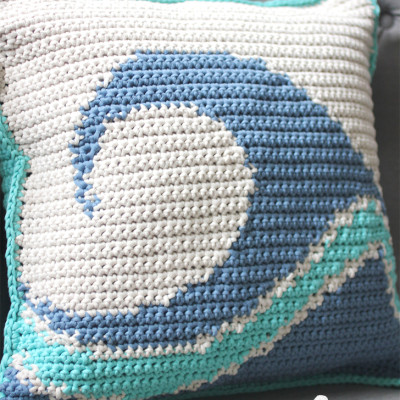 Catch A Wave Pillow and Yarnspirations Cast Away Lookbook