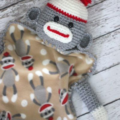 Crochet Sock Monkey Lovey Blanket