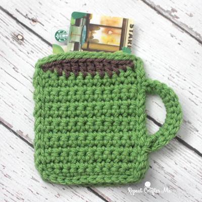 Crochet Coffee Mug Gift Card Holder