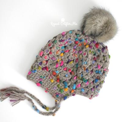 Crochet Patons Peak Puff Stitch Pompom Hat