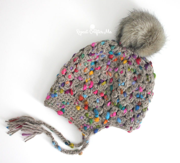 dac0419a34e Crochet Patons Peak Puff Stitch Pompom Hat - Repeat Crafter Me