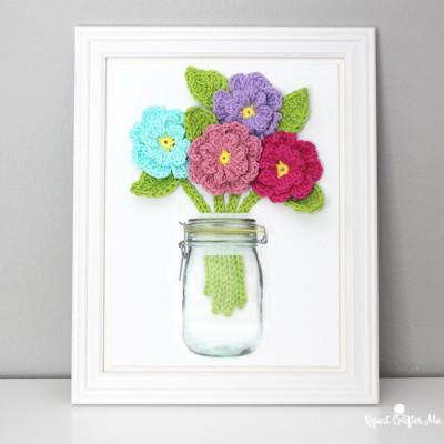 Crochet Flowers on Canvas