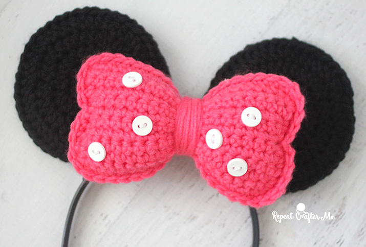 Crochet Minnie Mouse Ears Headband Repeat Crafter Me