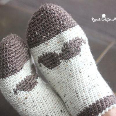 Crochet Mustache Slipper Socks for Men