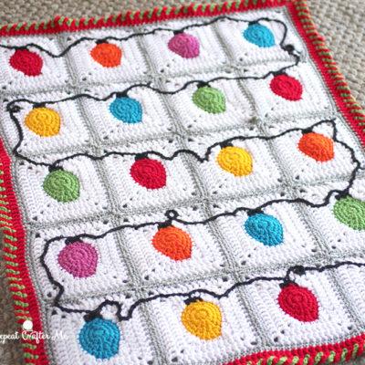 Crochet Christmas Lights Blanket