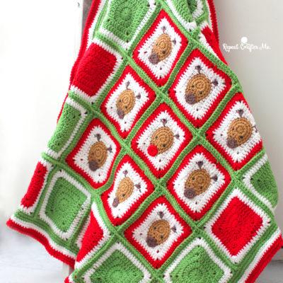 Bernat Crochet Christmas Reindeer Blanket