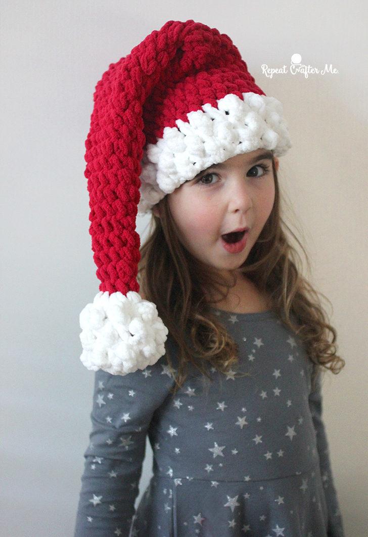 Crochet Santa Hat With Bernat Blanket Yarn Repeat Crafter Me
