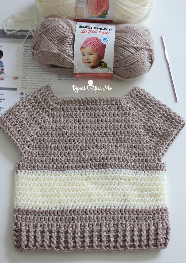 Crochet Character Sweater and Yarnspirations Baby's Day Out Lookbook