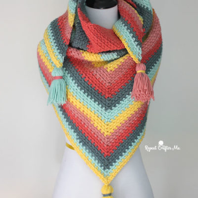 Crochet Caron Big Cakes Moss Stitch Shawl