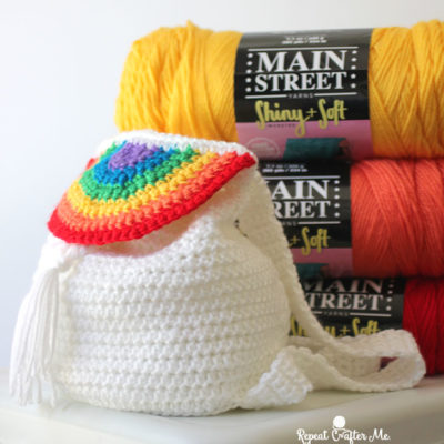 Crochet Rainbow Drawstring Backpack