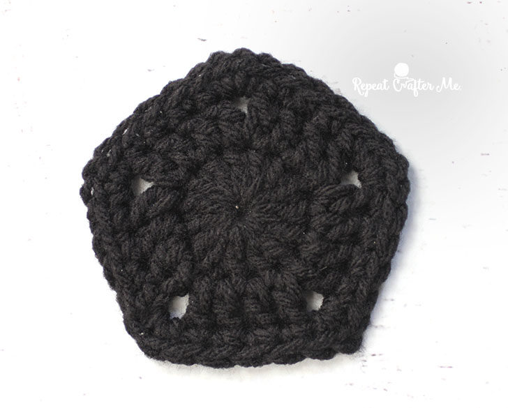 Crochet Pentagon Pattern  Make 12 with black. Magic Ring, Chain 3 (counts  as first DC) and make 14 DC in ring, pull tight and join to top of chain 3,  ... ca790553aff