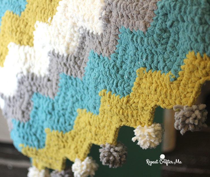 Bernat Blanket Stripes Crochet Chevron Blanket Repeat Crafter Me