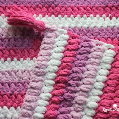 Bernat Blanket Stripes Crochet Cluster Stitch Afghan