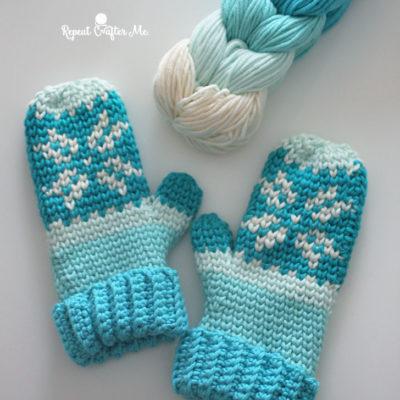 Crochet Fair Isle Mittens