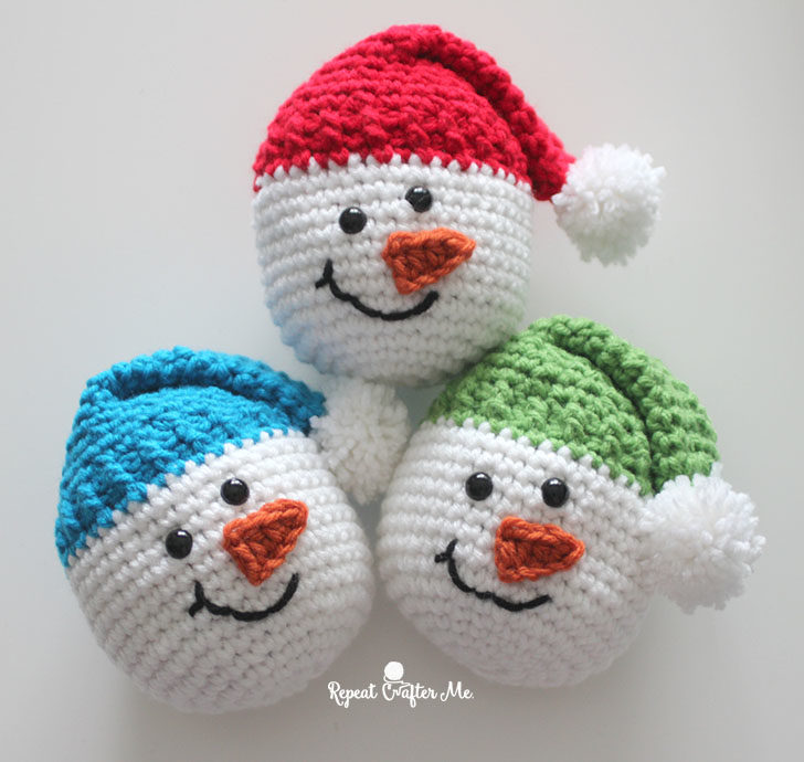 crochet snowman heads repeat crafter me