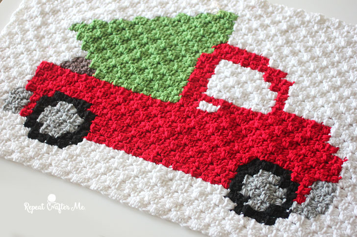Crochet C2C Pickup Truck Tree Pillow
