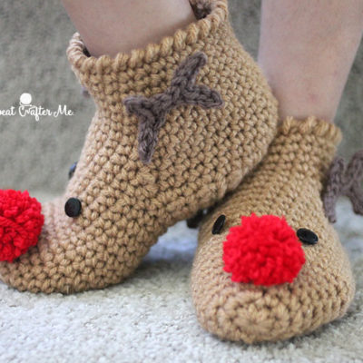 Crochet Rudolph Slipper Socks