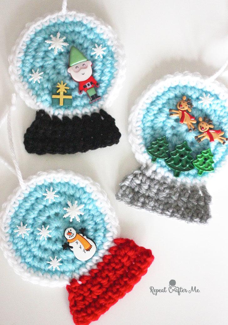 Crochet SnowGlobe Ornaments - Repeat Crafter Me